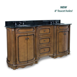 """Hardware Resources - Elements Bathroom Vanity - This 74-1/4"""" wide MDF elliptical vanity is accented with reed columns and simple carvings. The walnut finish is created by hand, making each vanity unique. Two large cabinets and two center drawers equipped with full extension slides provide ample storage. This vanity has a 2 cm black granite top preassembled with two H8809WH (15"""" x 12"""") bowl, cut for 8"""" faucet spread, and corresponding 2 cm x 4"""" tall backsplash. Overall Measurements: 74-1/4"""" x 23-1/4"""" x 35-3/4"""" (measurements taken from the widest point) - Faucet must be purchased separately."""