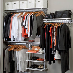 Arrange A Space - Closet System in White Finish (88 in. W x 11. - Choose Size: 88 in. W x 11.75 in. D x 84 in. H (102 lbs.)Includes hardware. Anodized aluminum rail. Rail mounts easily onto the wall. Easy to installs into wood studs. 0.75 in. shelf thickness with industrial grade particle board. Commercial grade steel tubing hang rod in polished chrome. Made from fine wood grain melamine and metal. Height adjusts from 80 in. to 84 in.Arrange a Space's patented closet systems provide you with a unique and innovative solution for all of your space and storage needs. Created as a more flexible and versatile option for closets and storage areas than the common white wire or wood shelf, rod systems of the past.