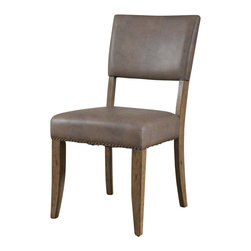 """Hillsdale Furniture - Hillsdale Charleston Parson Dining Chair (Set of 2) in Desert Tan - Hillsdale's Charleston collection beautifully combines a rustic desert tan wood finish with a dark grey metal and offers a multitude of choices to create the perfect dining group for your home. Starting with the chairs, you have the choice of three lovely designs: The X-Back chair combines a rustic desert tan top accent with a transitional metal X in the center of the back and a brown faux leather seat. The parson's chair is traditional in design and combines the rustic desert tan finish with the brown faux leather seat. The ladder back chair features 3 rungs in the desert tan finish, enhanced by the dark grey metal and brown faux leather seat. Now that you have decided on your chair, let's look at the table options: The stunning rectangle table features a wood top that is generously scaled to easily accommodate 6. The simple round table features a 48"""" diameter wood top with flared metal legs. The round wood table is 48"""" in diameter and features a wonderful metal accent on the base."""