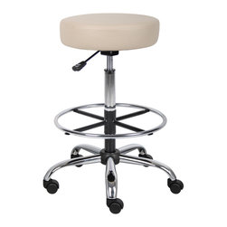 """Boss Chairs - Boss Chairs Boss B16240-BG Caressoft Medical/ Drafting Stool - Ergonomic design emulates the natural shape of the spine to increase comfort and productivity. Upholstered in durable Caressoft vinyl for easy maintenance and cleaning. Adjustable seat height with a 6"""" vertical height range. Attractive chrome finish on the base, foot ring and gas lift."""