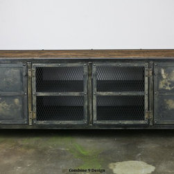Vintage Industrial Media Console/Credenza. Reclaimed wood top. Urban Modern. -