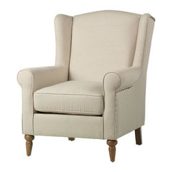 Home Decorators Collection - Collins Wingback Chair - With a deep, cushioned seat and washed oak legs, our Collins Wingback Chair is a wingback beauty that adds understated elegance to any room. Finished with sloping wings, custom upholstery options and nailhead trim, this armchair is the perfect accent piece at the perfect price. Washed oak legs complete the look. Wings connect to arms to create a cohesive armchair.