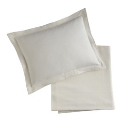 Peacock Alley - Montauk Sham, Pearl, Standard - The look is pebbled. The feel — pure pleasure! With its earthy hue, delightful texture and double-needle frame border, this 100 percent Egyptian cotton sham will effortlessly enhance your bedroom's classic chic.