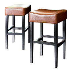 Great Deal Furniture Duff Backless Leather Bar Stool
