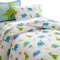 Wildkin - Olive Kids Dinosaur Land Twin Duvet Cover - Prehistoric fun! Our Dinosaur Land duvet cover has adorable dinosaurs roaming across the bed. Super soft all cotton percale!