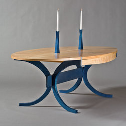 Blue Maple dining Table - Elliptical Table seats 8 with ease, 4 drawers for storage, made to fit your needs.