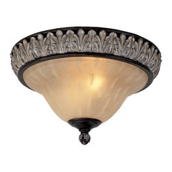 Livex Lighting - Livex Lighting 8162-40 Orleans Flush Mount Ceiling Fixture With 3 Lights - Featuring an elaborate Romanesque design, the Orleans three light flush mount ceiling fixture features an upside down bell shaped champagne alabaster glass shade, large attractive finial, and grand raised acanthus leaf trim around the base.