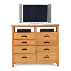 Copeland Furniture - Copeland Furniture Berkeley 8 Drawer Chest + TV Organizer 2-BER-85-03 - The Berkeley 8 drawers and TV organizer is made of solid cherry hardwood with American black walnut accents.