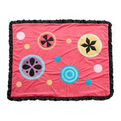 Magical Michayla - Medium Quilt - Magical Michayla coordinating quilt is like no other.  Soft minky on both sides make this the perfect blanket anytime and anywhere!  Pink on one side with detailed appliqu�s in Kaleidoscope patterns with turquoise blue on the opposite side.  Quilt is trimmed in black satin to make this the softest of quilts.