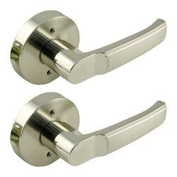 Enchante Accessories Inc - Non Turning Lever Door Handle Set, Satin and Brushed Nickel Finish - Non-Turning lever lockset for single door and double door closets