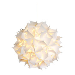 Akari Lanterns - Spades Hanging Pendant Lamp, White, Deluxe - This Deluxe version is assembled with three times as many pieces as the medium version giving it a more detailed and sophisticated appearance.  Add a beautiful soft glow to any room, patio, or outdoor area with this unique hanging pendant lamp from Akari Lanterns.  This Squares Lamp measures 22 inches in diameter and is perfect for any room.  This beautiful hanging light resembles a Chinese paper lantern and will improve the ambiance of any setting while creating a unique focal point.  Our patented design is offered in many styles and sizes.  This fully assembled lamp kit includes everything you need for easy installation:  12ft cord w/switch, CFL bulb, and heavy duty mounting staples so that you can hang this lamp from the ceiling, tree branch or overhead framing.  All lamps come with a 30 day money-back guarantee.