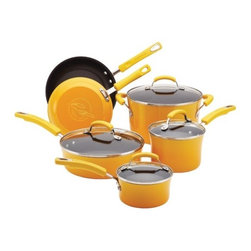 "Rachael Ray - Porcelain II 10-Piece Non-Stick Cookware Set - Rachael Ray's 10-piece hard enamel cookware set is an exceptional value while still unique and colorful - bringing a sense of style to your kitchen. The hard enamel exterior is beautiful and functional, providing quick and even heat distribution with a stylish two-tone gradient finish. You'll really get cooking with this incredible set as it contains only basic pieces to ensure you'll get your use out of each and every pan. Saucepans are the perfect size for whisking a homemade sauce or cooking your morning oatmeal, while the larger 6 quart stockpot is ideal for soups, stews or boiling pasta. The two skillets are great for searing meat or cooking a simple grilled cheese sandwich to accompany your soup. The set also includes a saute pan, an ultimate pan that can perform many of the functions of a skillet but features wide, straight sides with a deeper capacity. The saute pan is perfect for one dish meals since you can start your dish in this pan by sauteing onions and browning meat and later add your liquid and other ingredients into the same pan to finish on the stovetop or in the oven. Plus, this cookware heats quickly and evenly, reducing ""hot spots"" that can burn foods. Features: -Long-lasting nonstick interior allows food to slide off and makes cleanup quick and easy.-Rubberized dual-riveted handles are comfortable and oven safe to 350°F.-Tempered glass lids to watch foods cook without having to remove the lid to keep moisture locked in.-Handwash only, not dishwasher-safe.-Not recommended for use on ceramic / glass top stoves.-Set includes 1 quart covered saucepan, 2 quart covered saucepan, 6 quart covered stockpot, 3 quart covered saute, 8.5"" skillet and 10"" skillet.-Stylish two-tone gradient exterior adds color and style to any kitchen.-Porcelain I collection.-Collection: Porcelain II.-Distressed: No.Dimensions: -Dimensions: 13.75"" H x 10.75"" W x 23.5"" W.-Overall Product Weight: 17.1 lbs."
