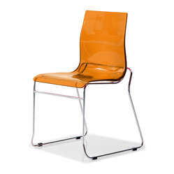 Gel-T Stackable Dining Chair, Transparent Orange