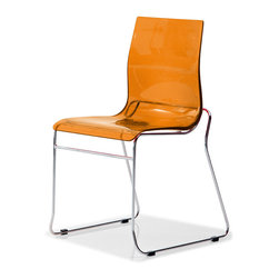 Domitalia - Gel-T Stackable Dining Chair, Transparent Orange - Stacking chair