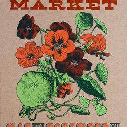 Farmers' Market 2011 Nasturtium Flower, Hand Printed by YeeHaw -