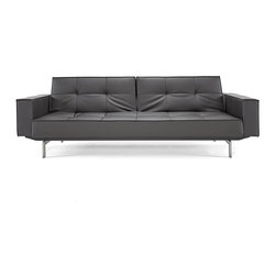 Innovation USA - Innovation USA Splitback Sofa W/Arms - Stainless Steel Legs - Black Leather Text - The Istyle classic. Simple, modern elegance combined with multifunction and modularity. Enables you to create a playful non-static living room.