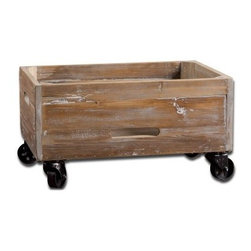 Stratford Rolling Box - With a sturdy build and functional versatility, the Stratford Rolling Boxmakes quite the useful accessory. This rolling box has a weathered look and is made with sanded, reclaimed fir wood, sealed with a light grey wash. It has heavy-duty, swivel metal casters for easy transport. Manual handling is made easy with slot handles on the body of the box for easy lifting. This rolling box provides storage coupled with convenience.