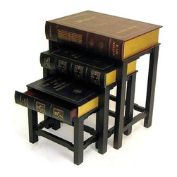 Wayborn - Scholar's 3 Piece Nesting Tables - Are you a bookworm? Play up your passion with this quirky set of nesting tables from Wayborn. Featuring 3 books with pull out drawers, these tables are the perfect pieces for those seeking a little bit of scholarly appeal to dress up any room. Great for displaying pictures or simply stacking your other books on top, this set of nesting tables is a beautiful piece to incorporate into your personal library. Features: -Set of 3 nesting tables.-Scholar's theme.-Golden accents.-Leather Textured finish with Beveled parts.-Distressed: Yes.Specifications: -1 Drawer in each table.Dimensions: -Overall dimensions: 24'' H x 20'' W x 14'' D.-Overall Product Weight: 35 lbs.