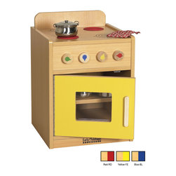 Ecr4kids - Ecr4Kids Indoor Home Preschool Kids Colorful Essentials Play Kitchen Stove - Perfect for your favorite little chef.This adorable and functional toddler-sized dramatic play stove has a easy-to-clean laminate construction with rounded edges for safety. Built to endure endless hours of play, the Play Stove 4 burners, 4 movable knobs, a see-through oven window and full-length continuous piano hinges. Interior shelves are perfect for play or toy storage. Available in a warm maple laminate with primary colored accents that match all items in the Colorful Essentials product line.