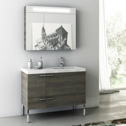 ACF - 39 Inch Bathroom Vanity Set - Set Includes: . Vanity Cabinet (2 doors, 1 drawer). Fitted ceramic sink (39.4 inch x 18 inch ). Lighted Medicine Cabinet (W 35.4 inch x H 29.1 inch ). Kit of 4 polished chrome feet (7.9 inch ). Vanity Set Features:. Vanity cabinet made of engineered wood. Cabinet features waterproof panels. Available in Grey Oak Senlis, Wenge, Larch Canapa, Glossy White. Cabinet features 2 doors, 1 soft-closing drawer. Faucet not included. Perfect for modern bathrooms. Made and designed in Italy. Includes manufacturer 5 year warranty.