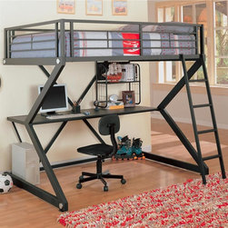 Coaster - Workstation Loft Bunk Bed - Includes side rails and ladder. Chair not included. Mattress sold separately. Full loft bed. Black color. Made from metal. 80.63 in. L x 69.63 in. W x 72.63 in. H. Desk underneath lofted bed. Casual style. Warranty. Bunk Bed WarningPlease read before purchase.. NOTE: ivgStores DOES NOT offer assembly on loft beds or bunk bedsThis piece will allow your child to study in the comfort of his or her own bedroom!