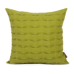 Olive Green Hand-Crafted Pintuck Pillow