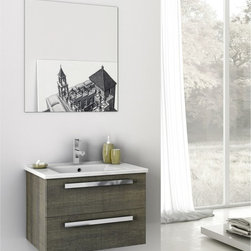 ACF - 24 Inch Bathroom Vanity Set - Set Includes: . Vanity Cabinet (2 drawers). Fitted ceramic sink (25.5 inch x 17.1 inch ). Mirror (W 25.6 inch x H 28.3 inch ). Vanity Set Features:. Vanity cabinet made of engineered wood. Cabinet features waterproof panels. Available in Grey Oak Senlis, Style Oak, Glossy White. Cabinet features 2 soft-closing drawers. Faucet not included. Perfect for modern bathrooms. Made and designed in Italy. Includes manufacturer 5 year warranty.