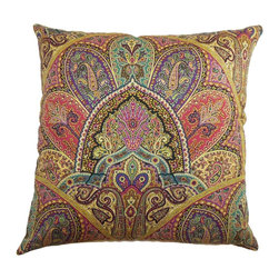 """The Pillow Collection - La Ceiba Paisley Pillow Gemstone 18"""" x 18"""" - If you've been planning to reinvent your home design, this throw pillow is a great addition. The intricate paisley print of this accent pillow is combined with a mix of fun colors, including: red, pink, yellow and blue. This contemporary decor pillow is made from 100% cotton fabric, which is great for snuggling. Hidden zipper closure for easy cover removal.  Knife edge finish on all four sides.  Reversible pillow with the same fabric on the back side.  Spot cleaning suggested."""