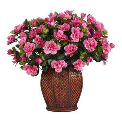 Azalea with Vase Silk Plant - Azaleas conjure up images of one's garden in the Springtime, with their pretty, full blossoms and bright green leaves. Now you can bring that garden feel into any type of environment with this lovely arrangement that will make your visitors stand up and take notice. The Azalea arrangement is housed in a beautiful vase that is highlighted by a pattern that only adds to the overall presentation. A must own! Height= 20 in x Width= 21 in x Depth= 21 in