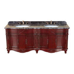 "Bosconi - 75"" Bosconi T-3688 Double Vanity - Add some glamour to your master bath with this burgundy-finished wood and marble vanity. Its twin white sinks, antique brass hardware and four spacious cabinets combine style with practicality."