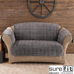 Sure Fit - Deluxe Pet Dark Grey Loveseat Cover - Protect your favorite furniture from pet hair,stains,and other unwanted elements with this gray loveseat cover. This velvet loveseat cover is not only comfortable,but it can also complement any chair color,even adding an extra touch of elegance.