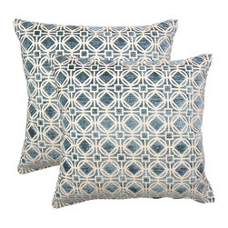 None - Ramses Teal 17-in Throw Pillows (Set of 2) - This set of throw pillows will liven up any room. These pillows come in a set of two.
