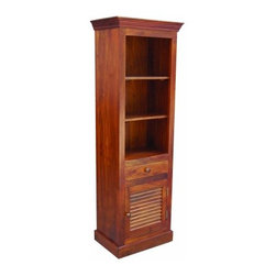YOSEMITE HOME DECOR - Bookcase - This solid mango bookcase features one faux shutter door. One top drawer, an open bottom and 2 solid mango shelves provide for ample storage space. Shown in a soft fruitwood finish w/color matching wood knobs. Fully assembled and made in India.  Item Dimension in 24inches Width X 16inches Depth X 72inches Height