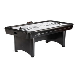 Brunswick Billairds - Brunswick V-Force Air Hockey Table - The hottest look in air hockey since Brunswick invented the game more than 30 years ago, the 3 1/2' by 7' V-Force table rocks with state of the art electronic scoring and exceptional speed of play.  Cool black mallets are easy to control for precise shots on goals.  Durable aluminum rails with powder coated metal corners accelerate the action.  Two mallets and four pucks included with each table kit.