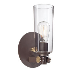 Quoizel - Quoizel Uptown East Village Wall Sconce - A vintage, casual, young yet retro look for the new illuminati.  It features clear glass shades that enhance the Western Bronze finish and gold accents.
