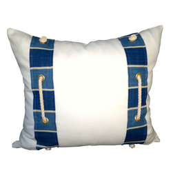PillowFever - White Cotton Pillow Cover with blue stripes and cotton rope accent. - Pillow insert is not included!