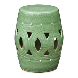 China Furniture and Arts - Chinese Coin Design Porcelain Garden Stool - Made of crackled porcelain, this earth tone garden stool is modeled after the traditional Chinese drum. The design is adopted from the shape of an ancient Chinese coin. Luscious hand-glazed jade-green finish. Easily matches any landscape in your garden or place it indoors for great decorative and practical use.