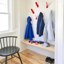 Merkled Coat Hooks - The Merkled Coat Hooks were designed to utilize the cutoff forms created from the Merkled Coat Rack during production. Similar to the coat rack the strength relies on one slight bend in the arm of the hook.