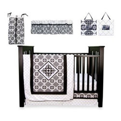 Trend Lab - Trend Lab Versailles Black and White 7-Piece Crib Bedding Set - This Black and White Versailles bedding set will add style and sophistication to your nursery. The filigree motif print's high-contrast style is reminiscent of vintage damask wallpaper which is set alongside a classic diamond print.