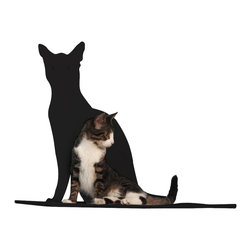 Cat Silhouette Cat Shelf Perch - Your kitty is one of your favorite things about your home; why be discreet about his presence? This cat silhouette wall shelf makes a proud style statement of your handsome feline while providing him with a cozy, padded platform to rest on. The laser-cut, powder-coated silhouette is available in a variety of colors, from subtle to boldly contrasting.