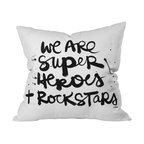 DENY Designs - Kal Barteski Superheroes Throw Pillow, 20x20x6 - Rock on, all you Wonder Women and Supermen. From invisible jets to Joan Jetts, you will turn up the superhero volume with this powerful statement pillow on your sofa, bed or bench. Graphic black script is printed front and back on white woven polyester.