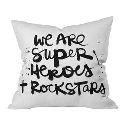 "DENY Designs - Kal Barteski Superheroes Throw Pillow, 20"" x 20"" - Rock on, all you Wonder Women and Supermen. From invisible jets to Joan Jetts, you will turn up the superhero volume with this powerful statement pillow on your sofa, bed or bench. Graphic black script is printed front and back on white woven polyester."