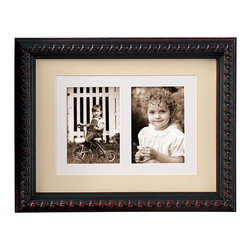 """Exposures - Chelsea Frame - 15"""" x 19"""" Holds Double 5"""" x 7"""" Photos - Overview With distinctive braided rope carving, this handcrafted wood frame evokes a European sensibility at a great value. Tan double mat with white inner shows off two 5"""" x 7"""" photos.   Mix sizes, moldings and finishes with other Exposures wood frames to create an eclectic grouping. This photo frame especially complements the Kensington and Battersea frames. Features Handcrafted Solid wood molding Loop and bead detailing Vertical or horizontal Wall display   Specifications  15"""" x 19"""" frame holds double 5"""" x 7"""" photos"""