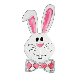 Glory Haus - Bowtie Bunny Burlap Art - Hang this adorable bunny burlap art in any room to bring instant charm to décor. The colorful design and Easter cheer are sure to delight any visitor.   22'' W x 24'' H x 1.2'' D Burlap / canvas Ready to hang Imported