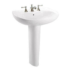 "TOTO - TOTO LPT242.8G#01 Prominence Pedestal Lavatory with 8"" Centers and SanaGloss, Co - TOTO LPT242.8G#01 Prominence Pedestal Lavatory with 8"" Centers and SanaGloss, Cotton White When it comes to Toto, being just the newest and most advanced product has never been nor needed to be the primary focus. Toto's ideas start with the people, and discovering what they need and want to help them in their daily lives. The days of things being pretty just for pretty's sake are over. When it comes to Toto you will get it all. A beautiful design, with high quality parts, inside and out, that will last longer than you ever expected. Toto is the worldwide leader in plumbing, and although they are known for their Toilets and unique washlets, Toto carries everything from sinks and faucets, to bathroom accessories and urinals with flushometers. So whether it be a replacement toilet seat, a new bath tub or a whole new, higher efficiency money saving toilet, Toto has what you need, at a reason"