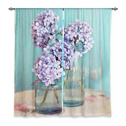 "DiaNoche Designs - Window Curtains Unlined - Sylvia Cook Hydrangeas in Mason Jars - DiaNoche Designs works with artists from around the world to print their stunning works to many unique home decor items.  Purchasing window curtains just got easier and better! Create a designer look to any of your living spaces with our decorative and unique ""Unlined Window Curtains."" Perfect for the living room, dining room or bedroom, these artistic curtains are an easy and inexpensive way to add color and style when decorating your home.  The art is printed to a polyester fabric that softly filters outside light and creates a privacy barrier.  Watch the art brighten in the sunlight!  Each package includes two easy-to-hang, 3 inch diameter pole-pocket curtain panels.  The width listed is the total measurement of the two panels.  Curtain rod sold separately. Easy care, machine wash cold, tumble dry low, iron low if needed.  Printed in the USA."