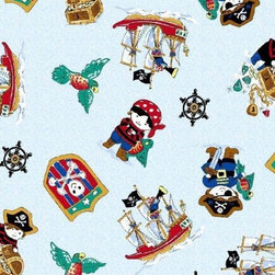 "SheetWorld - SheetWorld Fitted Pack N Play Sheet - Pirates - Made in USA - This luxurious 100% cotton ""woven"" pack n play (large) sheet features a cute pirate print. Our sheets are made of the highest quality fabric that's measured at a 280 tc. That means these sheets are soft and durable. Sheets are made with deep pockets and are elasticized around the entire edge which prevents it from slipping off the mattress, thereby keeping your baby safe. These sheets are so durable that they will last all through your baby's growing years. We're called sheetworld because we produce the highest grade sheets on the market today. Size: 29.5 x 42."