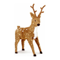 36 In. Christmas Reindeer Decoration with Spots and 150 Clear Lights - Measures 3 feet height. Indoor or outdoor use. Pre-lit with 150 UL listed, pre-strung Clear lights. Light string features BULB-LOCK to keep bulbs from falling out. If one bulb burns out the others remain lit. Includes spare bulbs and fuses. Fire-resistant and non-allergenic.