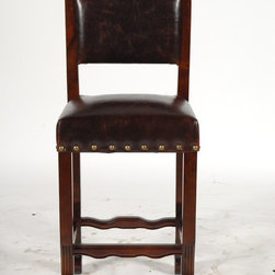 MOTI Furniture - True Leather Curved Leg Spanish Bar Height Chair - 94011038 - True Collection Counter Height Chair