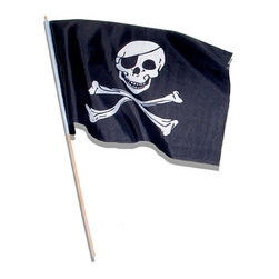 "Set of Twelve Pirate Flags - The set of twelve pirate flags measures 4"" x 6"" for each flag. These flags are ideal for use at parties and are perfect for any pirate themed room."